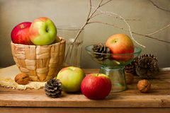 Still life with fresh apples and pine corn Royalty Free Stock Photos