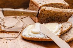 Still life fresh bread with butter and honey Royalty Free Stock Photography