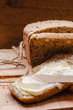 Still life fresh bread with butter and honey Stock Photography
