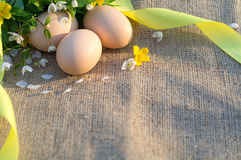 Still life of fresh chicken eggs and spring flowers on a tablecl. Oth of burlap in the open air Royalty Free Stock Images