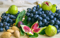Still life of fresh colorful fruits. Bunch of black grapes, gree Royalty Free Stock Image