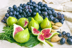 Still life of fresh colorful fruits. Bunch of black grapes, gree Royalty Free Stock Images
