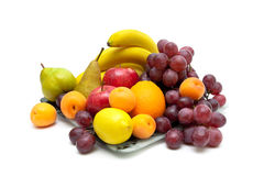 Still life of fresh fruit isolated on white background Royalty Free Stock Photography