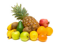 Still life of fresh fruits on white background Stock Photography