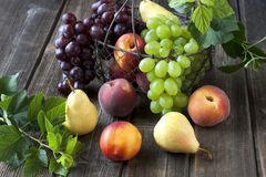 Still life with fresh fruits in wicker basket on wooden table. Colorful summer fruits - nectarines, peaches, pears and grape  on wooden table Royalty Free Stock Photo