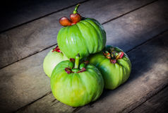 Still life with fresh garcinia cambogia on wooden background (Th Stock Image