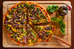 Vegetarian pizza. Still life with fresh homemade traditional vegetarian pizza Stock Images