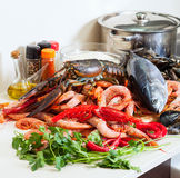 Still life with fresh  marine products. Still life with fresh raw marine products Royalty Free Stock Photography