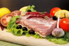 Still Life with Fresh Meat and Vegetables, XXXL Stock Image