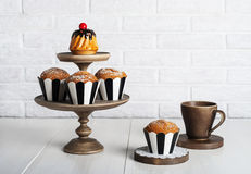 Still life with fresh muffins on the table Stock Image