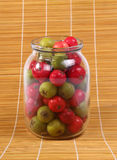 Still-life with fresh natural red rowan berries and small green pears Royalty Free Stock Photos