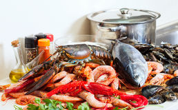 Still life with fresh raw seafoods Royalty Free Stock Photos