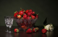 Still life with fresh strawberries Stock Photos
