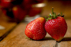 Still life of Fresh strawberry on wooden table Royalty Free Stock Photography