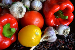Still life of fresh vegetables and dried barberry Stock Photography