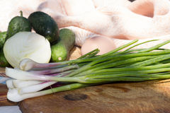 Still life of fresh vegetables and greens Stock Photography