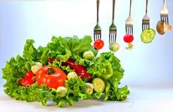Still life of fresh vegetables on a platter Stock Image