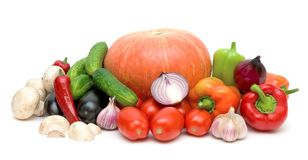 Still life of fresh vegetables on white background Stock Photos