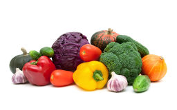 Still life of fresh vegetables on a white background Royalty Free Stock Photo