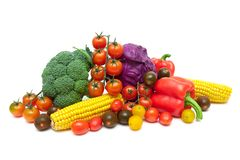 Still life of fresh vegetables on a white background Royalty Free Stock Photos