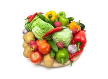 Still life of fresh vegetables on a white background. Horizontal photo Stock Images