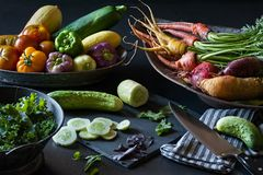 A still life of freshly picked summer produce from the garden. royalty free stock images