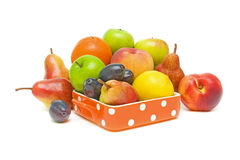 Still life of fruit. Still life of fresh fruit on a white background Royalty Free Stock Image
