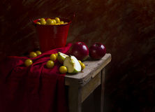Still life fruit apples plums mirabelle Royalty Free Stock Photography