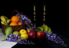Still life of fruit in a basket stock photography