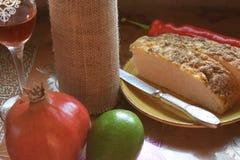 Still life fruit bread and wine. Tasty Royalty Free Stock Photo
