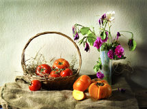 Still Life with fruit and flower Royalty Free Stock Photo