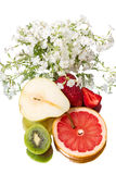 Still life  with fruit and flowers Royalty Free Stock Image