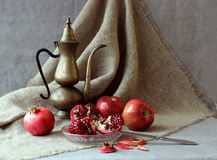 Still life with fruit. And a kettle rarity Stock Image