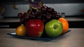 Still life fruit kitchen interior stock footage