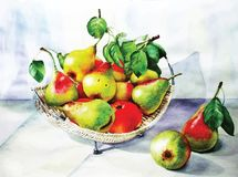 still life with fruit. Painting with pears Stock Photo