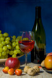 Still life fruit and red wine Stock Photography