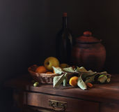 Still life with fruit and utensils
