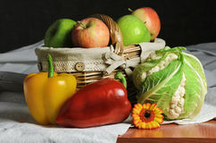 Still Life of Fruit And Vegetables. On The Table royalty free stock photo