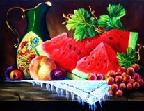 Still life with fruit. Watermelon, grapes Royalty Free Stock Photography