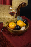 Still-life with fruit and wine glass Stock Image