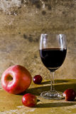 Still life with fruit and wine Stock Images