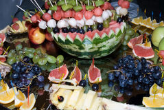 Still life from fruits. Healthy fruits on the mirror table royalty free stock photo