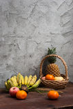 Still life with Fruits and a basket Royalty Free Stock Image