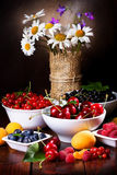 Still life with fruits and berries Stock Photography