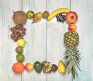 Still life fruits frame on wooden background stock photos
