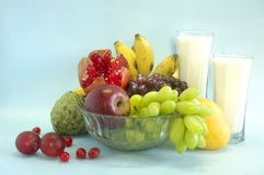Still life with fruits & milk Stock Images