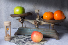 Still life fruits and old tools. Stock Photos