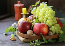still life with fruits and pumpkins stock photo
