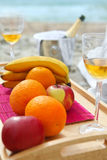 Still-life with fruits and vine glass Royalty Free Stock Image