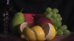 Still life with fruits on wood stock video footage